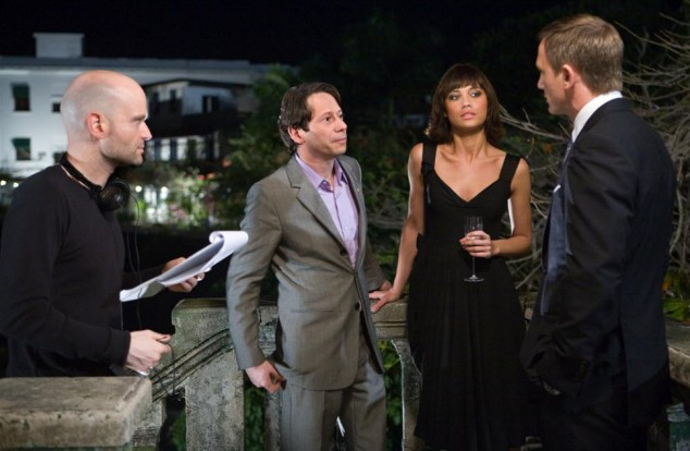 From L-R: Director Marc Forster, Mathieu Amalric as Dominic Greene, Olga Kurylenko as Camille, and Daniel Craig as James Bond