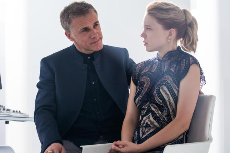 Christoph Waltz as Franz Oberhauser and Léa Seydoux as Madeleine Swann